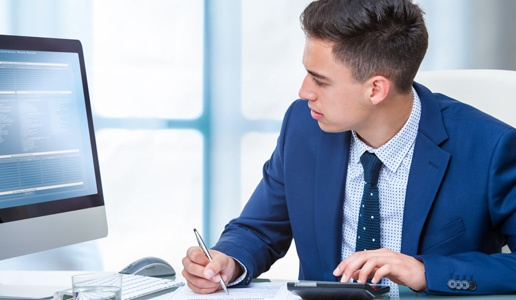 Accountant working at desk